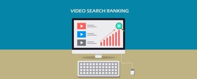 Graduación video de la búsqueda, optimización para el contenido video digital, bandera plana del vector del diseño stock de ilustración