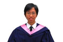 Graduado asiático feliz, joven del estudiante fotos de archivo