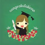 Graduado da menina com flor e dinheiro a bordo Fotos de Stock