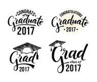 Graduado 2017 das felicitações ilustração stock