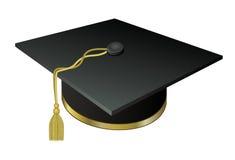Graduado de la universidad del sombrero con una borla de oro Fotografía de archivo