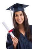 Graduado de universidad con el diploma Imágenes de archivo libres de regalías