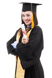 Graduado de universidad femenino Imagenes de archivo