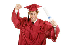 Graduado entusiástico Foto de archivo libre de regalías