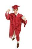Graduado entusiástico com dinheiro Fotografia de Stock Royalty Free