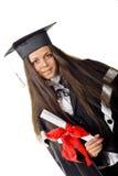 Graduado feliz con el certificado Imagen de archivo