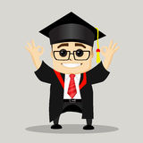 Graduado feliz del varón Dirección de la motivación del negocio Imagenes de archivo