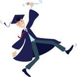 Graduado feliz en casquillo y vestido con el diploma Fotografía de archivo libre de regalías