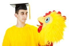 Graduado no terno da galinha Fotografia de Stock Royalty Free