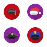 Graduado, santa, policía, pirata Los sombreros fijaron iconos de la colección en web plano del ejemplo de la acción del símbolo d Foto de archivo