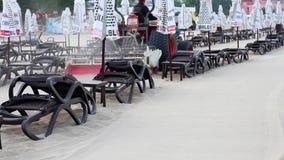 Graduador que tamiza la arena en la playa pública almacen de metraje de vídeo