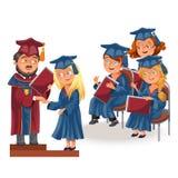 Graduados felices en el cartel plano de la ceremonia de la celebración stock de ilustración