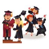 Graduados felices en el cartel plano de la ceremonia de la celebración libre illustration