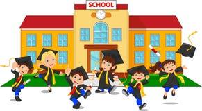 Graduados felices que sostienen certificados delante de la escuela ilustración del vector