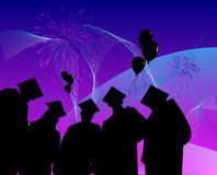 Graduados que tienen celebración Imagen de archivo libre de regalías