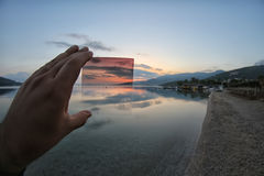 The gradual nd filter views. The differences between using gradual nd filter or not use royalty free stock images