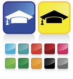 Graduate #1. Conceptual vector illustration web2.0 button of graduation cap- check my gallery for more. proposed colors Royalty Free Stock Photography