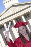 Graduate. Excited smiling graduate girl diploma stock images