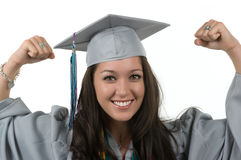 Graduate. Successful graduate with her cap and gown Royalty Free Stock Photo