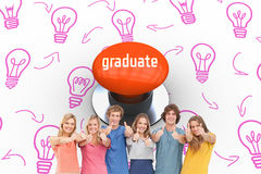 Graduate against orange push button Royalty Free Stock Images