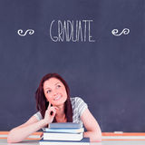 Graduate against student thinking in classroom Stock Images