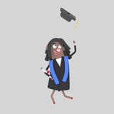 Graduate black girl jumping with her cap in the air Stock Photo
