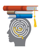 Graduate With Books And Maze. Royalty Free Stock Photos