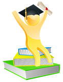 Graduate on books with scroll. Graduate sitting on books with convocation scroll certificate and mortar board graduation cap Royalty Free Stock Photography
