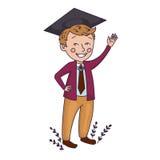 Graduate Boy. Graduate Little Boy in vector Stock Image
