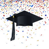 Graduate Cap on a Background of Multicolor Confetti Royalty Free Stock Photos