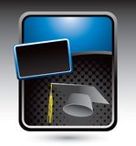 Graduate cap on blue stylized banner Royalty Free Stock Photography