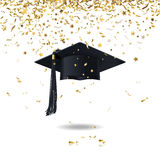Graduate cap and confetti Stock Photo