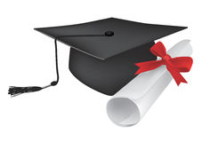Graduate_cap_diploma. Illustration of a diploma and mortarboard cap symbolizing graduation. Cap and diploma can be used separately. Vector illustration Stock Image