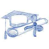 Graduate cap and diploma contour style ballpoint pen Stock Photos