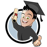 Graduate with Cap and Gown. Illustration of a happy graduate with cap, gown and diploma indicating thumbs up Stock Photography