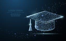 Graduate cap. Polygonal wireframe mesh looks like constellation. Education, university, success illustration or. Graduate cap. Polygonal wireframe mesh on blue Royalty Free Stock Photos
