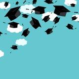 Graduate caps on the blue sky background. Corner border. Graduate ceremony banner or card. Vector illustration Stock Photos