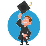 Graduate celebrates. Vector illustration. graduate with diploma Royalty Free Stock Photography