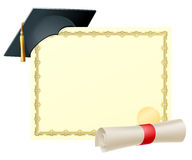 Graduate certificate background. Certificate with copy-space and scroll diploma and mortar board graduation cap Royalty Free Stock Image