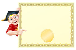 Graduate and certificate. Cartoon man in graduate cap peeking round a certificate and pointing at it Stock Images