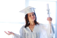 Graduate choosing her future Royalty Free Stock Image