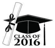 Graduate - Class of 2016. Is an illustration of a design that shows your pride as a graduate of the class of 2016. Includes a cap, text and diploma. Great for t Royalty Free Stock Image