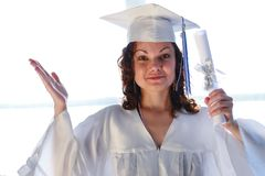 Graduate diploma. Happy young woman, just graduated with diploma Royalty Free Stock Photos