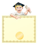 Graduate and diploma. Cartoon man in graduate cap holding a scroll certificate, diploma or other qualification, peeping over a certificate and pointing Royalty Free Stock Image