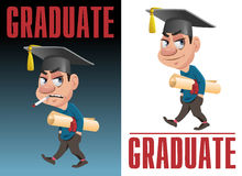 A graduate with a diploma scroll and graduate cap. Smoking on dark background and smiling isolated on white. Cartoon styled vector illustration. Elements is Royalty Free Stock Image