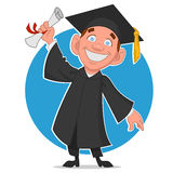 Graduate. A graduate with a diploma. Vector illustration Stock Photos