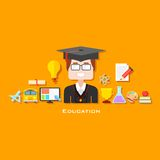 Graduate with Education icon. Illustration of graduate with education icon in flat style Stock Photo