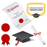 Graduate elements. Include certificate, graduation cap, seal, scroll and badge vector illustration