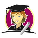 Graduate female student with pretty face Royalty Free Stock Images