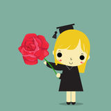 Graduate with flower. Graduate girl carry red rose on blue background Stock Photos